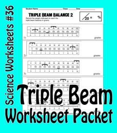 science basics reading a triple beam balance worksheet packet physical science pinterest. Black Bedroom Furniture Sets. Home Design Ideas