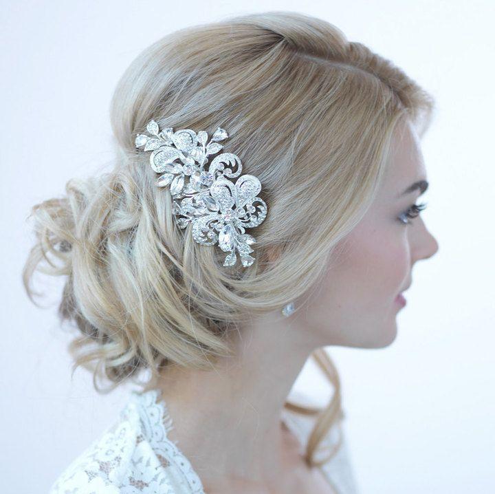 etsy rhinestone bridal hair clip wedding hair accessories silver wedding hair clip rhinestone wedding