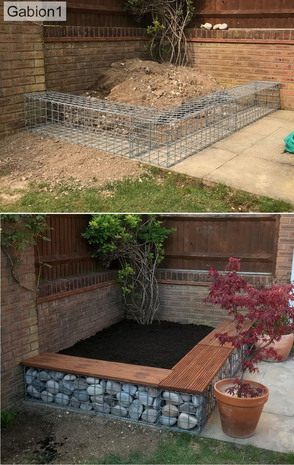 Gabion1 small planter wall (With images) | Terrace garden ...