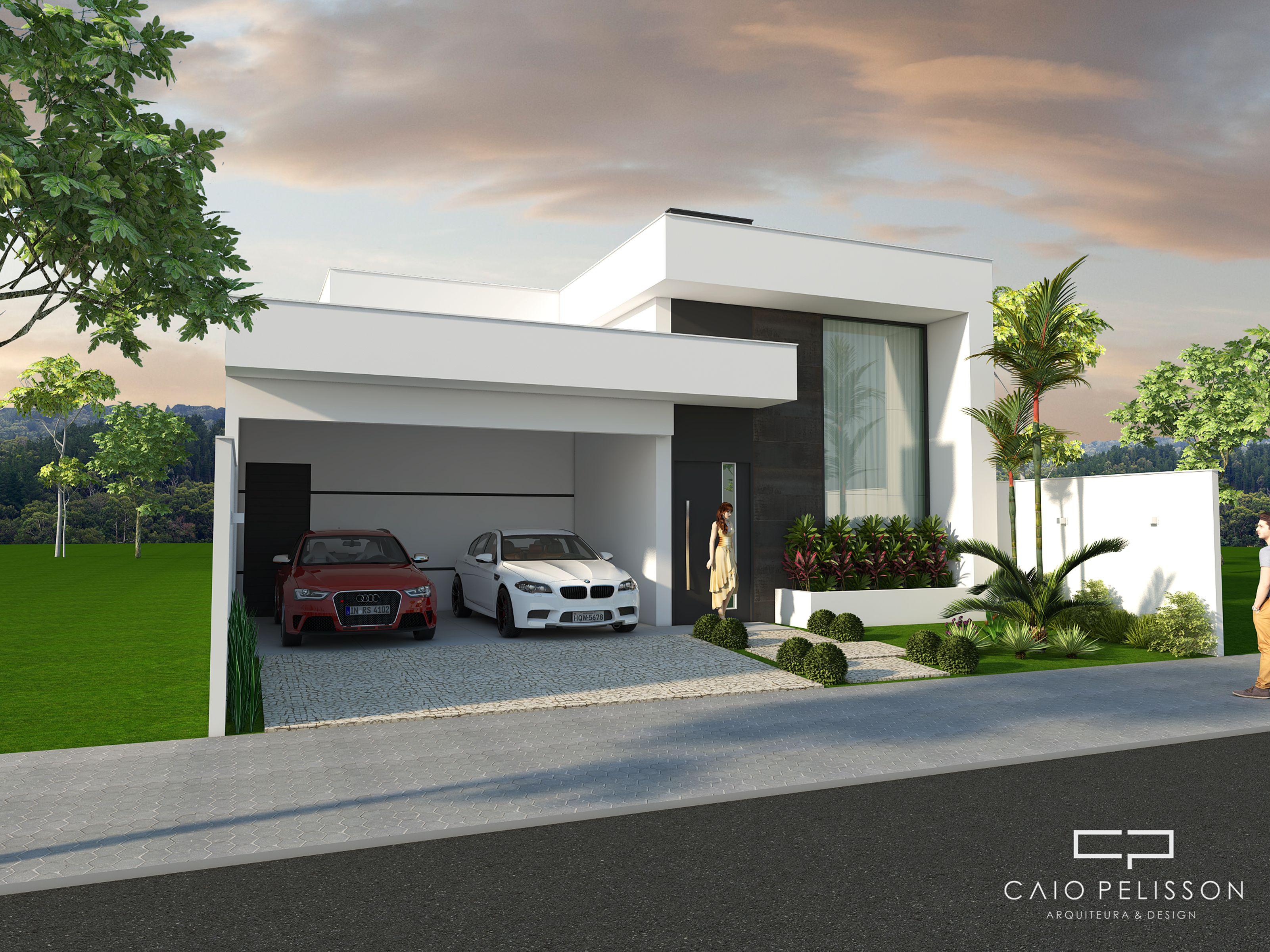 Fachada casa terrea branca com pe direito duplo casas for Fachadas casas modernas de una planta