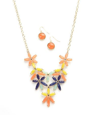 Blue & Coral Floral Bib Necklace & Earring Set by Ethel & Myrtle #zulily #zulilyfinds
