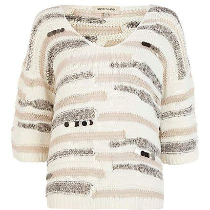 Beige sequin embellished oversized jumper £38.00