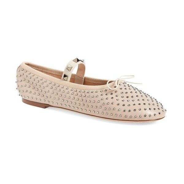 Women's Valentino Rockstud Ballet Flat (€715) ❤ liked on Polyvore featuring shoes, flats, nude leather, t-strap mary janes, leather flats, valentino flats, mary jane flats and mary jane shoes flats