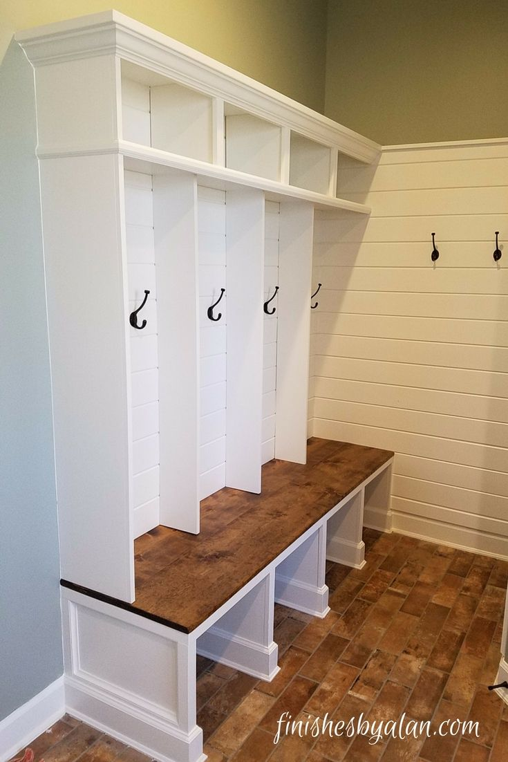 Mudroom Bench With Locker Dividers Shiplap Wall And