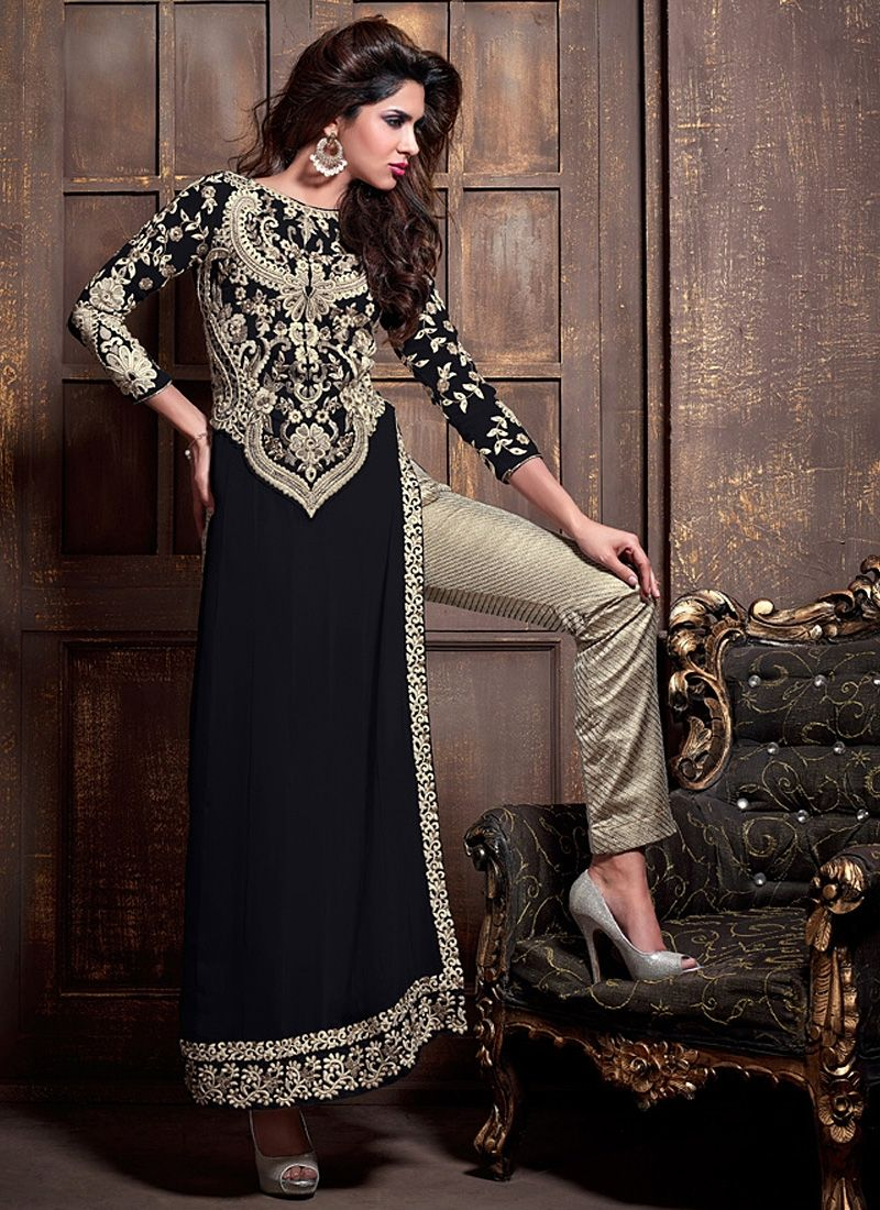 Buy Black And Cream Straight Cut Salwar Suit | UK Online Designer ...
