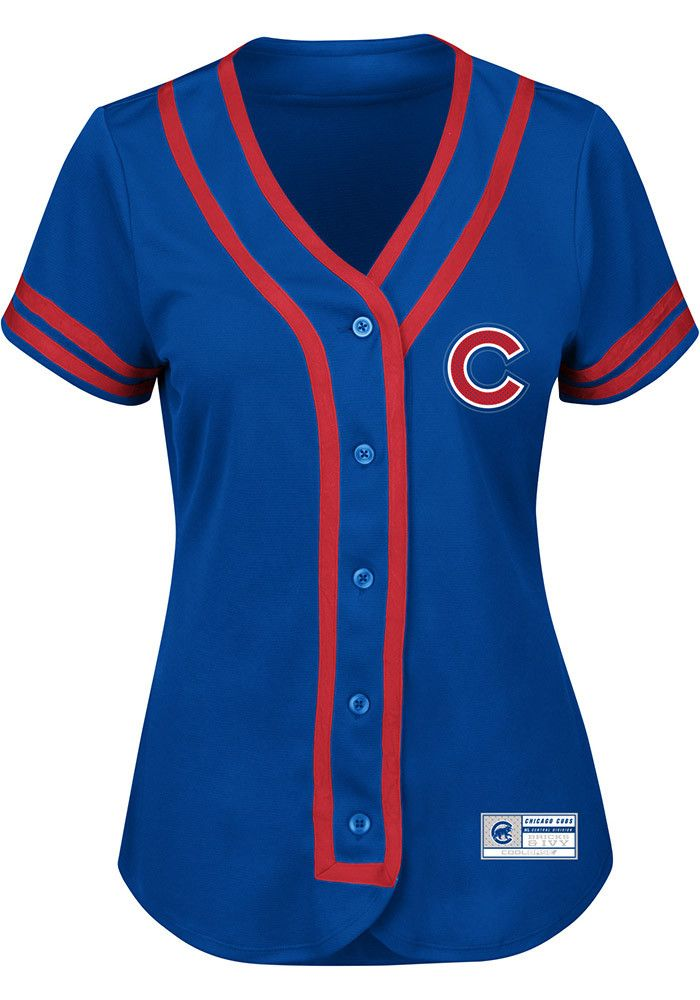 24123a27a Chicago Cubs Womens Majestic Fashion Fashion Baseball Jersey - Blue ...