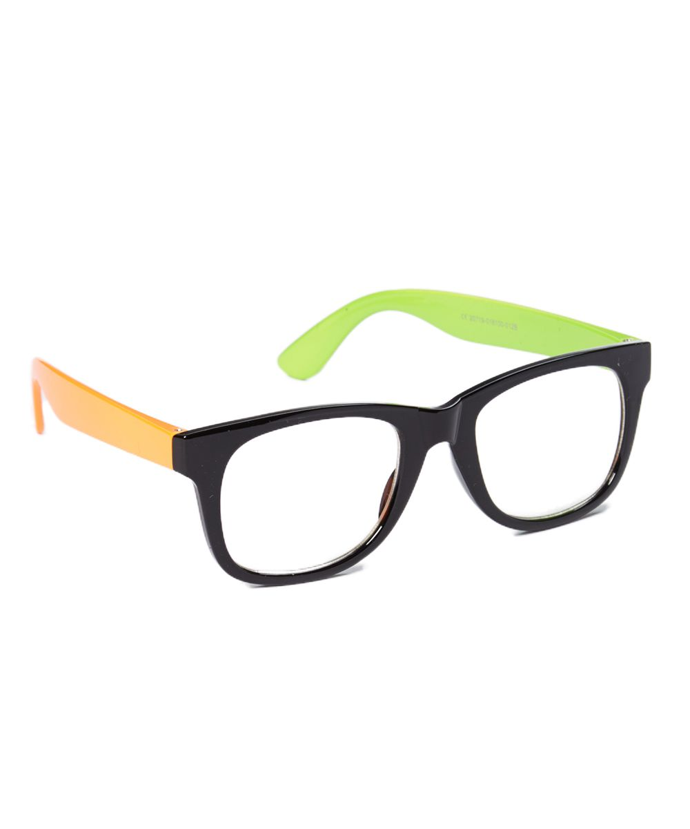 Green & Orange Color Block Sunglasses