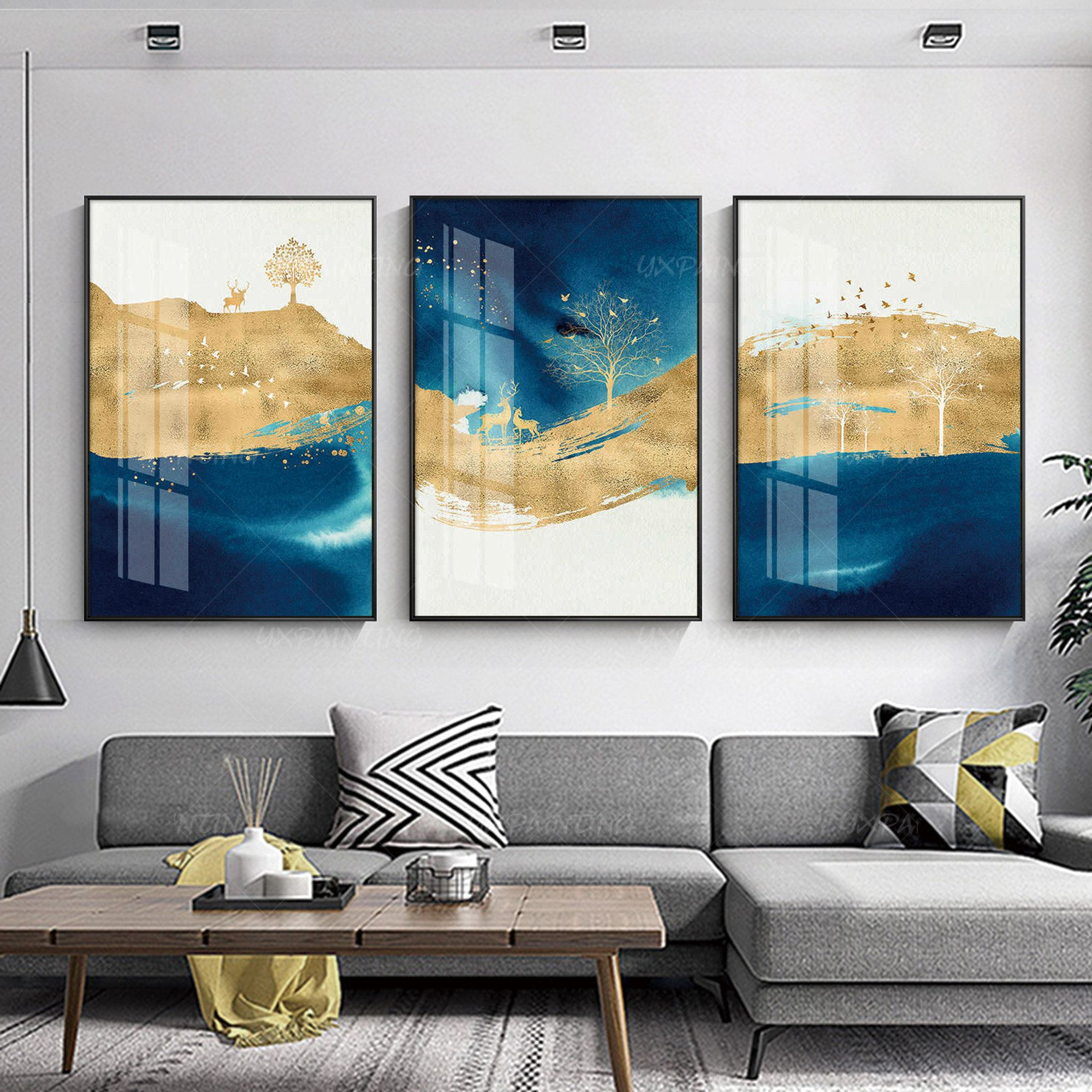 Framed Painting Gold Art Blue Painting 3 Pieces Wall Art Etsy In 2021 Blue Painting Painting Frames 3 Piece Wall Art
