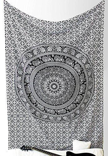 Popular Handicrafts Tapestry Wall Hangings Black And White Hippie Mandala Tapestry Wall Art Collage Dorm Beach Throw Bohemian Tapestry Wall Decor Boho Bedspread 85 X89 Tapestries For Guys Wall Tapestry Tapestry