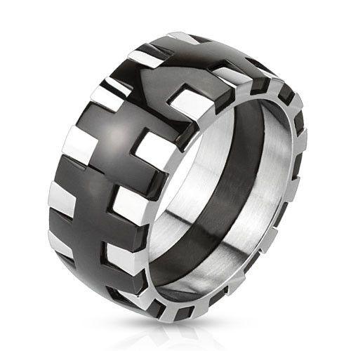 Gear – Rock 'n' Roll Polished Black Silver Stainless Steel Cogwheel Design Ring