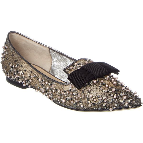 f37273111a Jimmy Choo Gala Lace Crystal Pearl Embellished Pointy Toe Flat (7.989.470  IDR) ❤ liked on Polyvore featuring shoes, flats, grey, flat shoes, lace  flats, ...