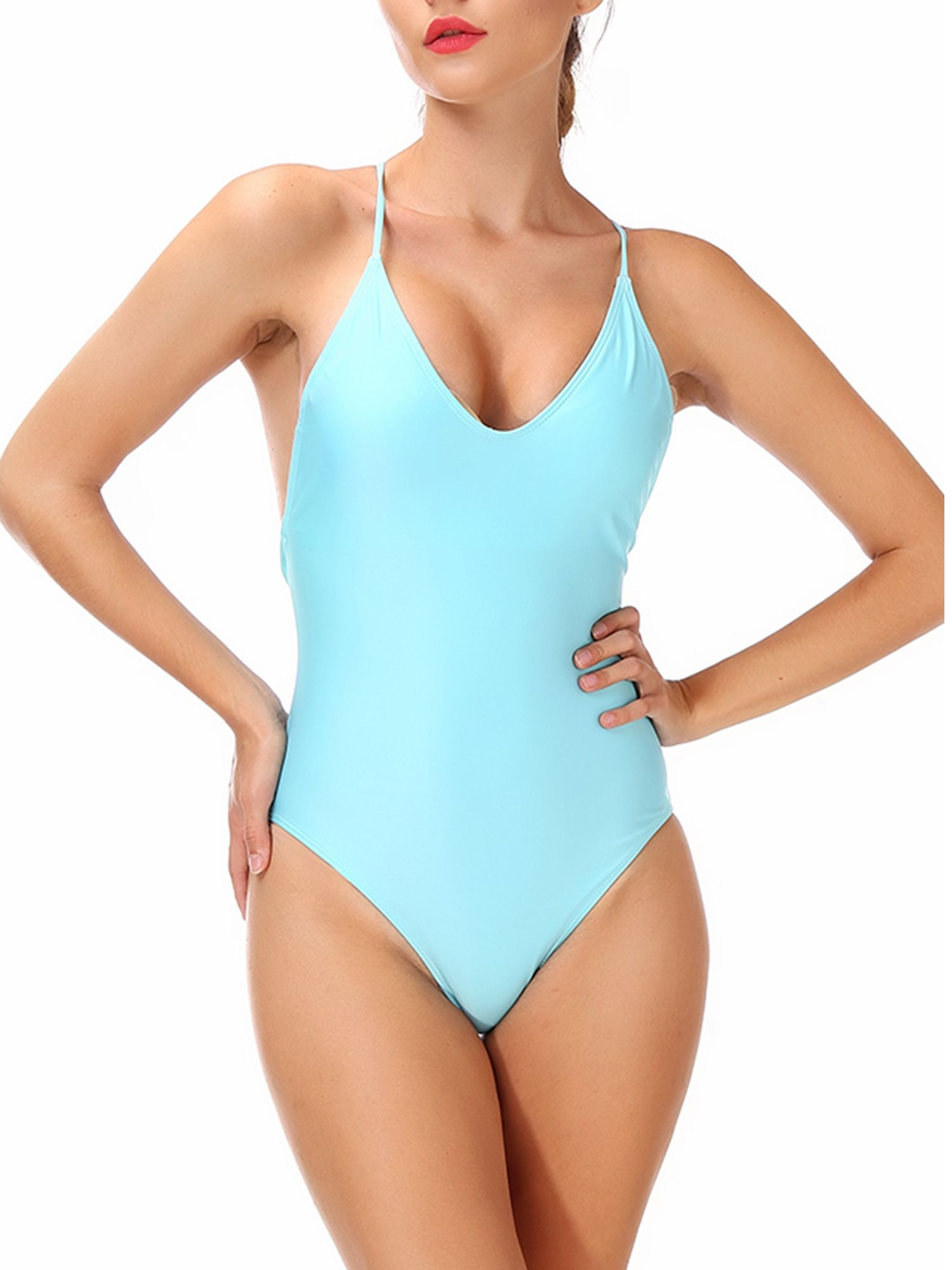 5789ac6f1c0e6 SAYFUT Womens Sexy One Piece Swimsuits Halter V-Neck Push Up Padded  Slimming Monokini Swimwear Soild Color Bathing Suits White/Yellow/Dark  Blue/Lake ...
