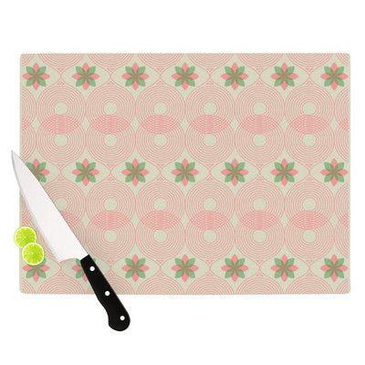 "KESS InHouse Pattern #3 by Deepti Munshaw Cutting Board Size: 0.5"" H x 11"" W x 7.5"" D, Color: Green/Pink"