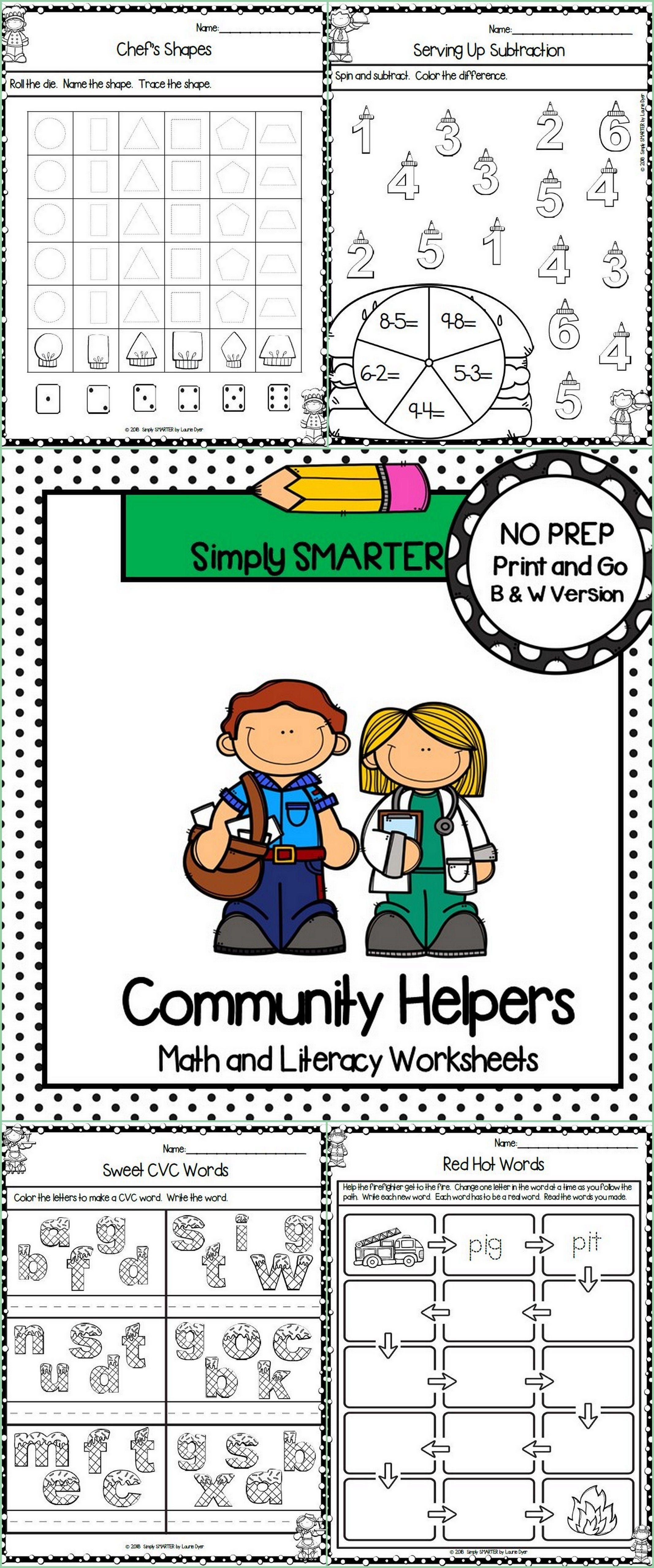 Community Helper Themed Kindergarten Math And Literacy