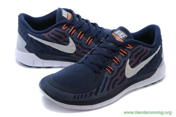 new product 23e11 460e0 zapatos baratos online azul   Blanco   Orange 2015 Nike Free 5.0 Hombre  8091010-336