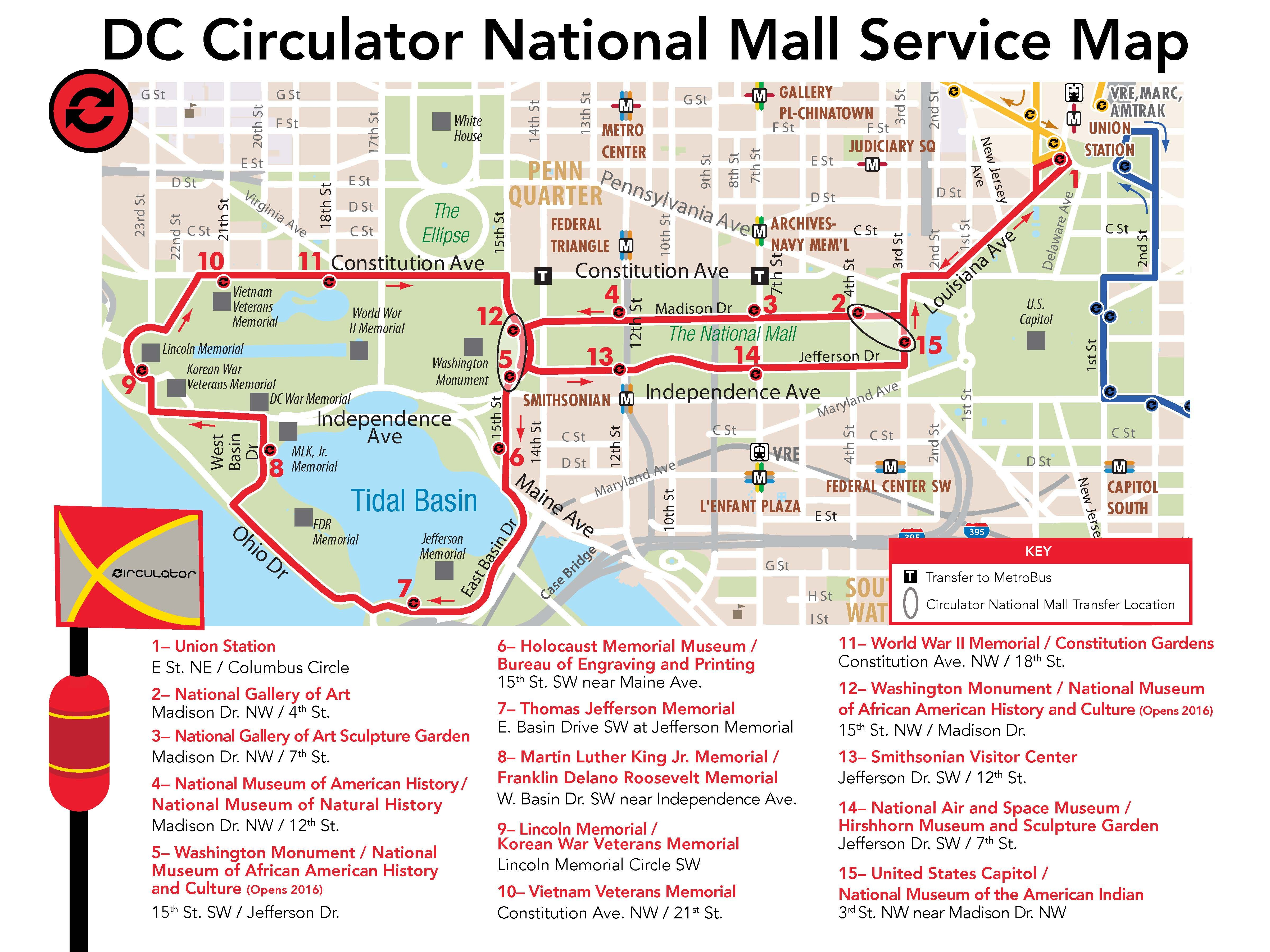 DC Circulator National Mall Buses Possibly The Cure For Little - Washington dc location in the usa map