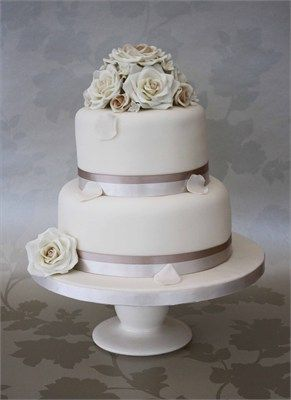 A classic 2 tier wedding cake perfect for a small wedding, complete ...