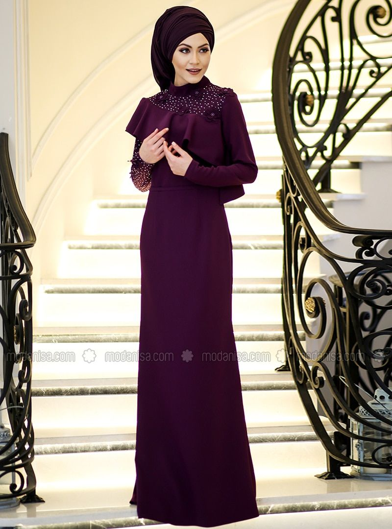 3bb049d539a Purple - Fully Lined - Polo neck - Muslim Evening Dress