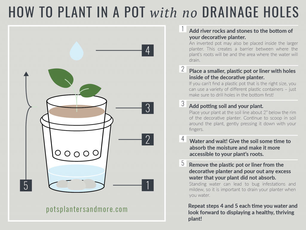 How To Plant In A Pot With No Drainage Holes Plants Drainage Indoor Plant Pots