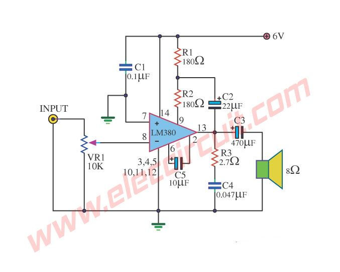 small ic power amplifier circuits for speakerlm390 otl 1w power amplifier circuit