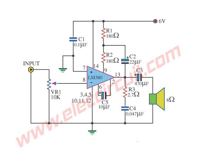 lm390 otl 1w power amplifier circuit power amplifiers rh pinterest com Power Amplifier Circuits Schematics Power Amplifier Circuit Diagram