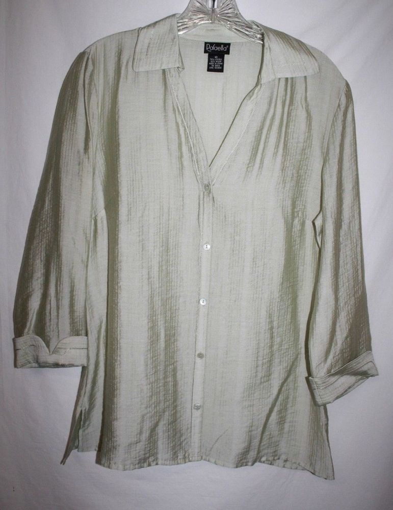 Rafaella Misses 10 Blouse Green Striped Sheer Button Up