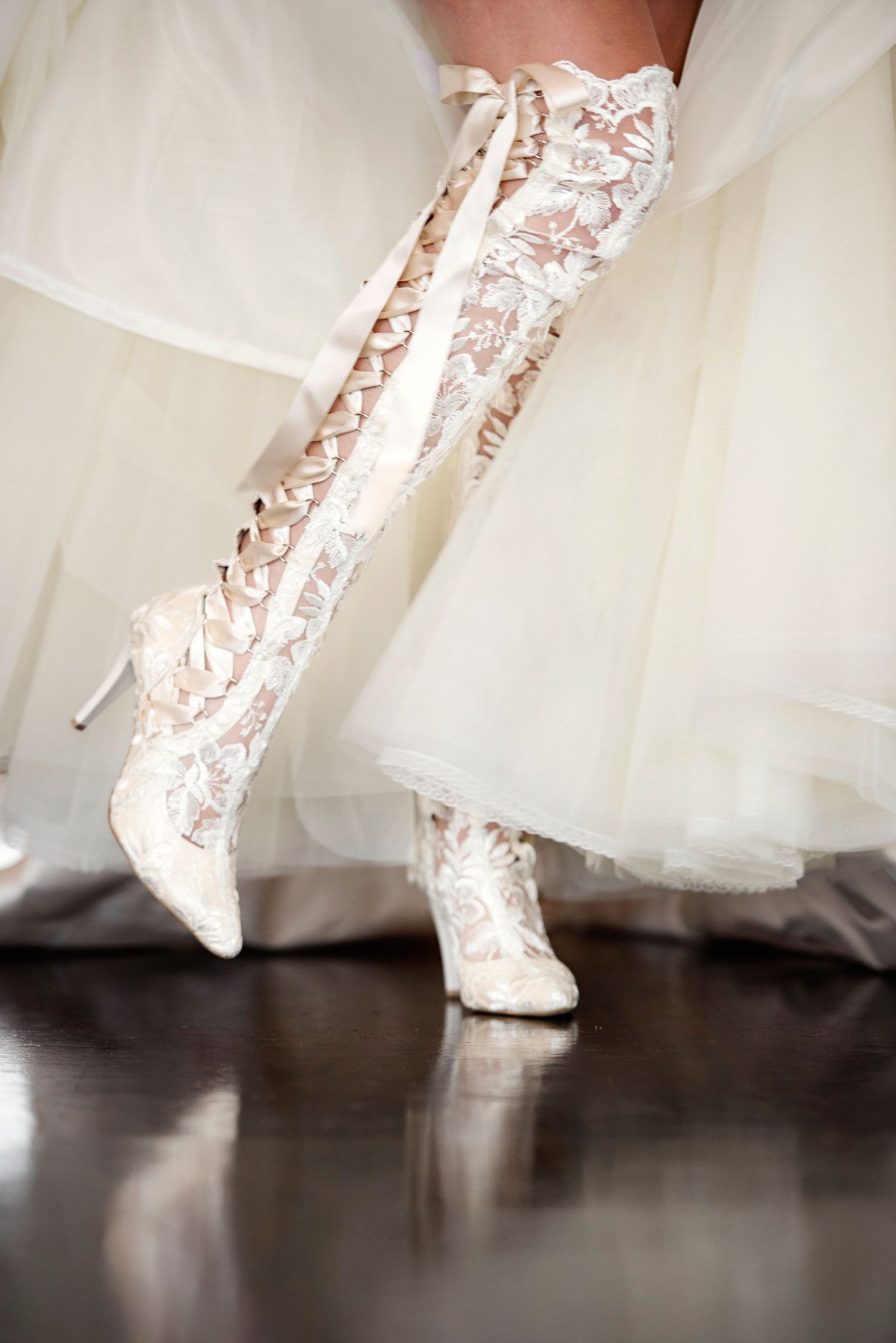 Over the knee Ivory Lace Wedding Boots