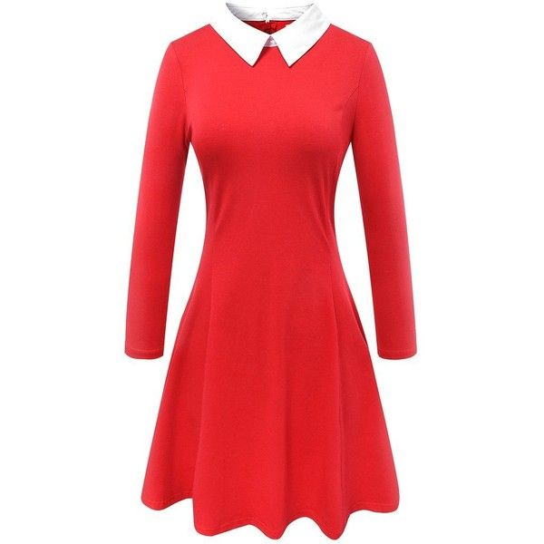 Aphratti Women's Long Sleeve Casual Peter Pan Collar Flare Dress ($22) ❤ liked on Polyvore featuring dresses, red dress, flared dresses, longsleeve dress, flare dress and long sleeve peter pan collar dress