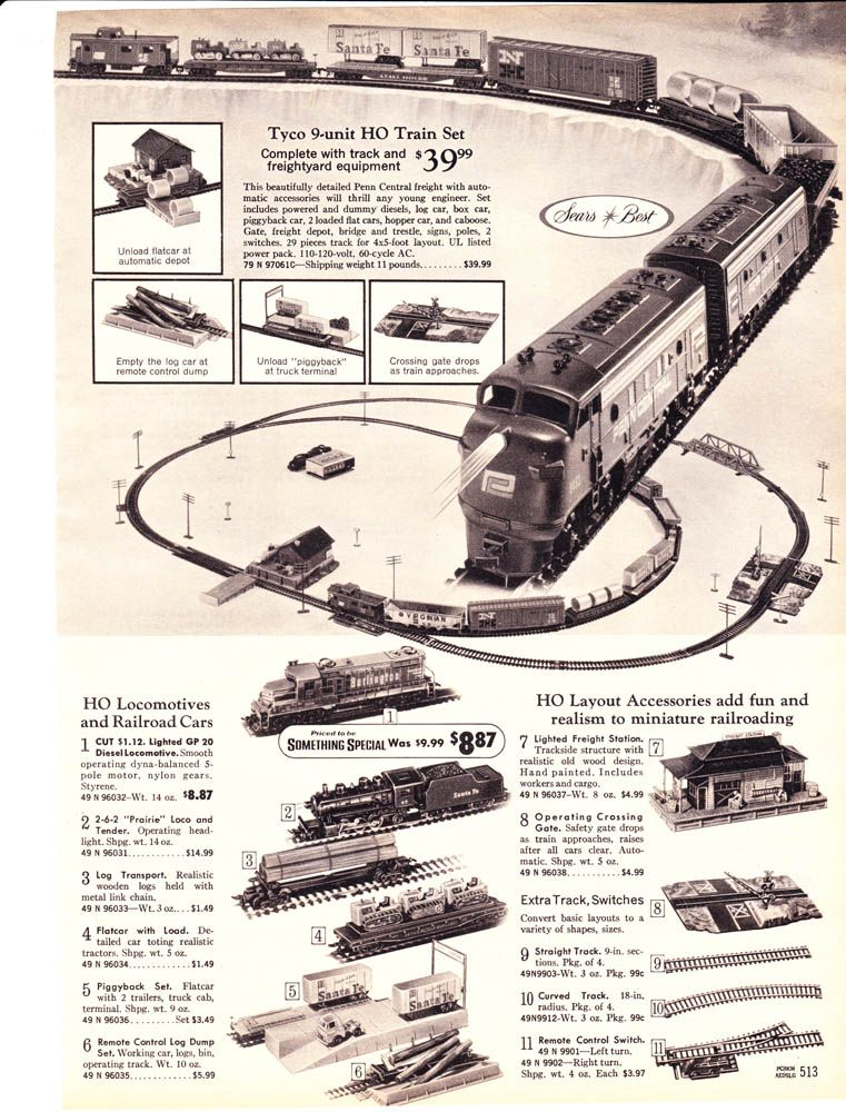 1970 Sears Wish Book p513   Christmas Trains throughout the years