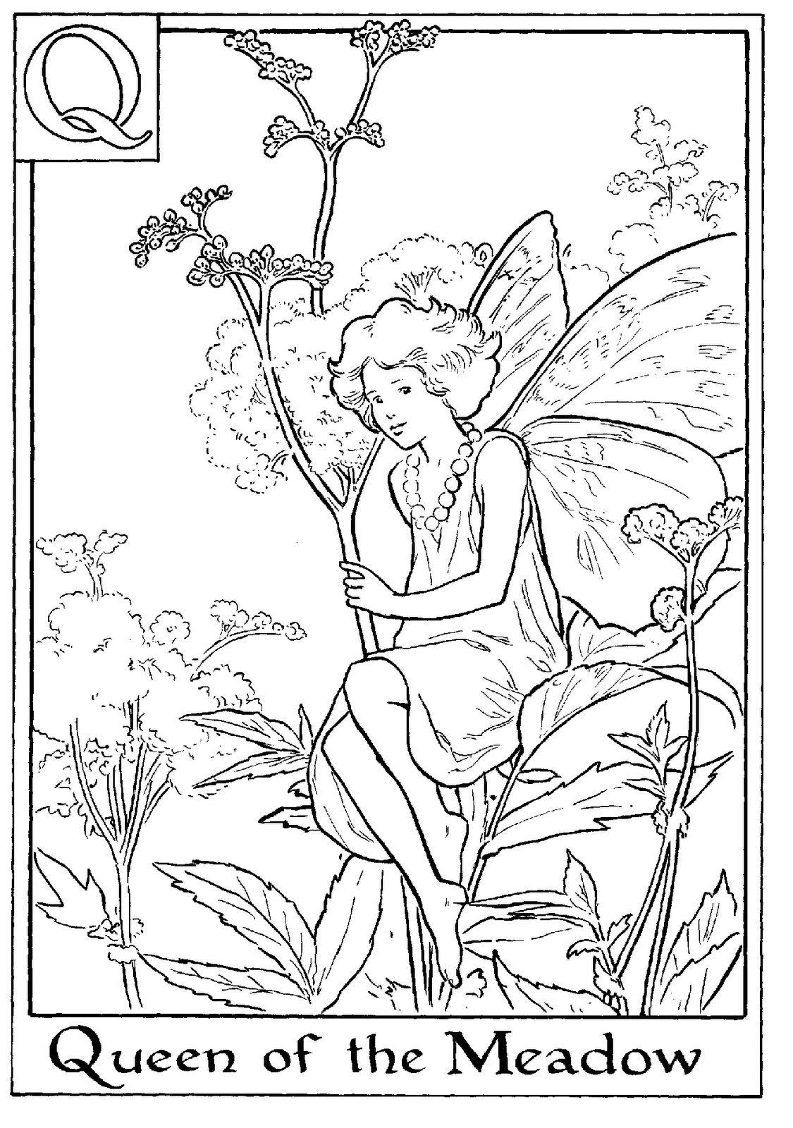 letter q for queen of the meadow flower fairy coloring page alphabet coloring pages alphabet flower fairies on do coloring pages - Coloring Pages Fairies Flowers