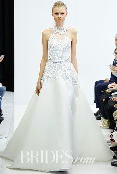 Angel Sanchez Wedding Dress - Spring 2017.  Macrame lace and gazar wedding dress with high-neck racer back and satin ribbon detail