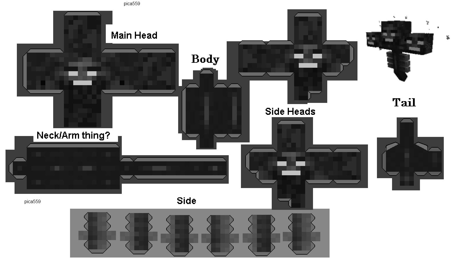 Papercraft Wither  Minecraft crafts, Minecraft wither, Papercraft