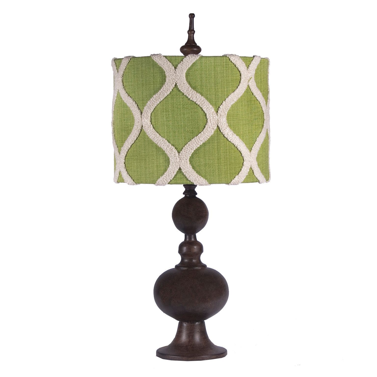 Green shaded brown lamp by gallery designs products pinterest small table lamp with textured ogee design green lamp shade geotapseo Images