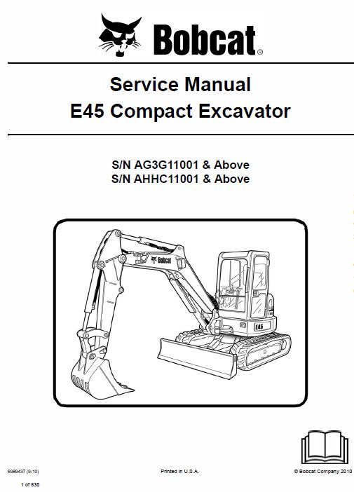 Bobcat E45 Compact Excavator Service Manual Excavator