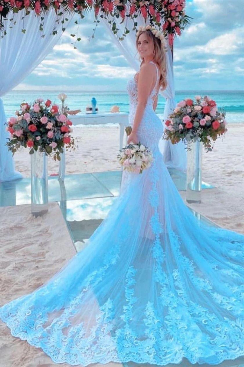 Mermaid Spaghetti Strap Light Blue Wedding Dress With Chapel Train Blue Wedding Dresses Light Blue Wedding Dress Disney Wedding Dresses [ 1262 x 841 Pixel ]