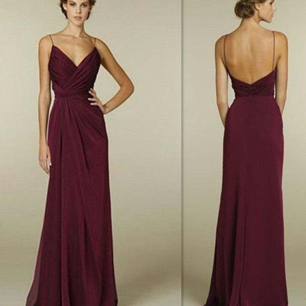 Maroon spaghetti straps vneck simple open back long formal prom