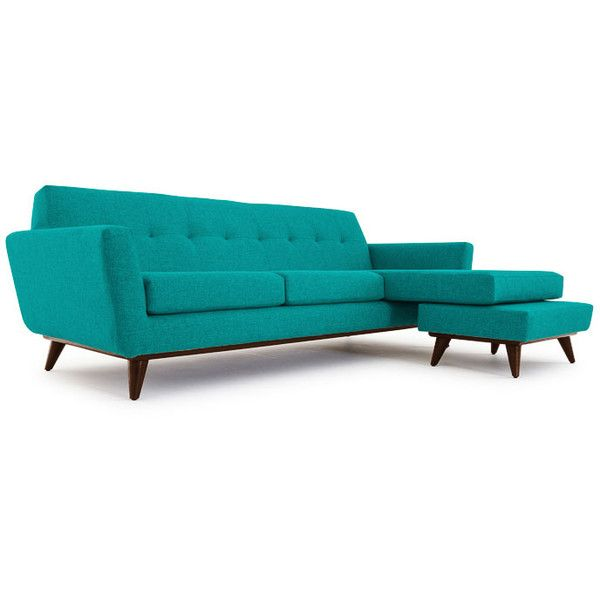 Modern Sectional Sofas Joybird Hughes Mid Century Modern Purple Leather Reversible Sectional liked on Polyvore