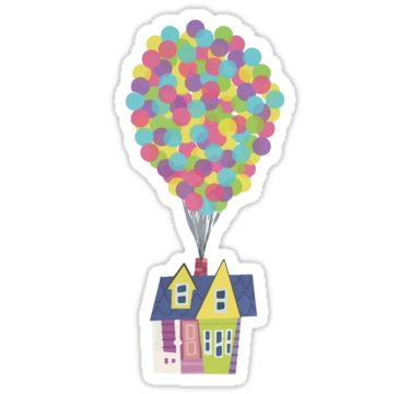 House With Balloons Inspired By Pixar Film Up Hand Lettered Piece Also Available Also Buy This Disney Sticker Disney Stickers Printables Printable Stickers