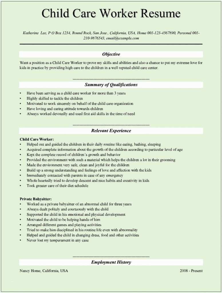 32 unique child care provider resume in 2020 job cover