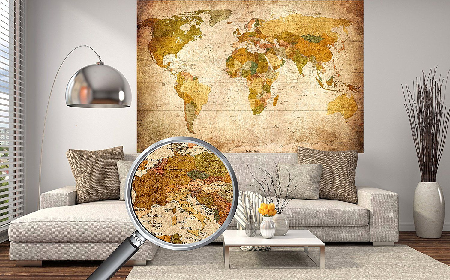 Old World Map in Vintage look XXL Wall Art in HD Poster 140cm x 100 ...