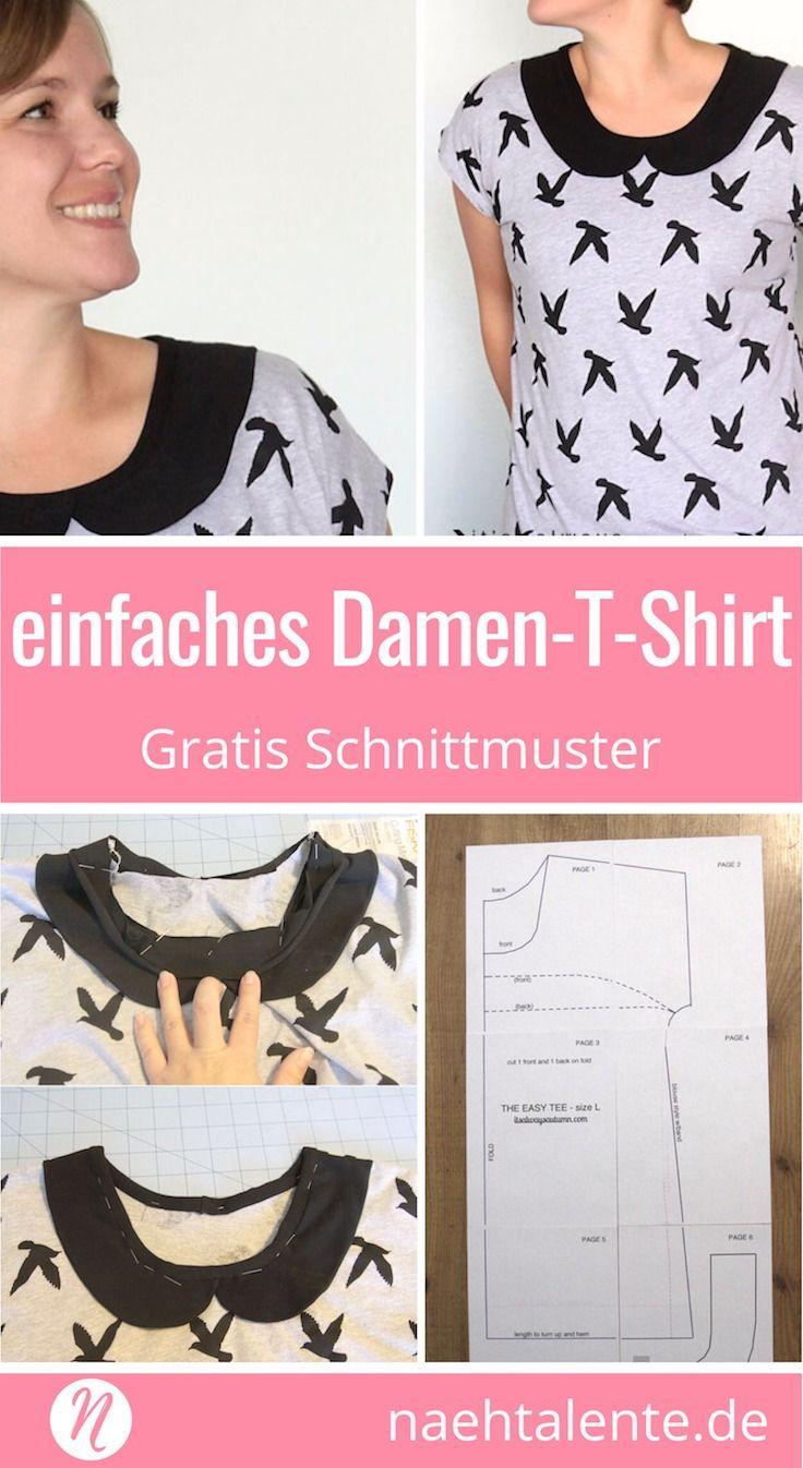 Einfaches T-Shirt für Damen zum selber nähen | Pinterest | Nähe ...