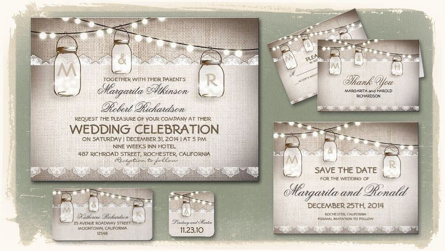 Cottage Mason Jar Wedding Invitation: Burlap Lace Rustic Wedding Invitation
