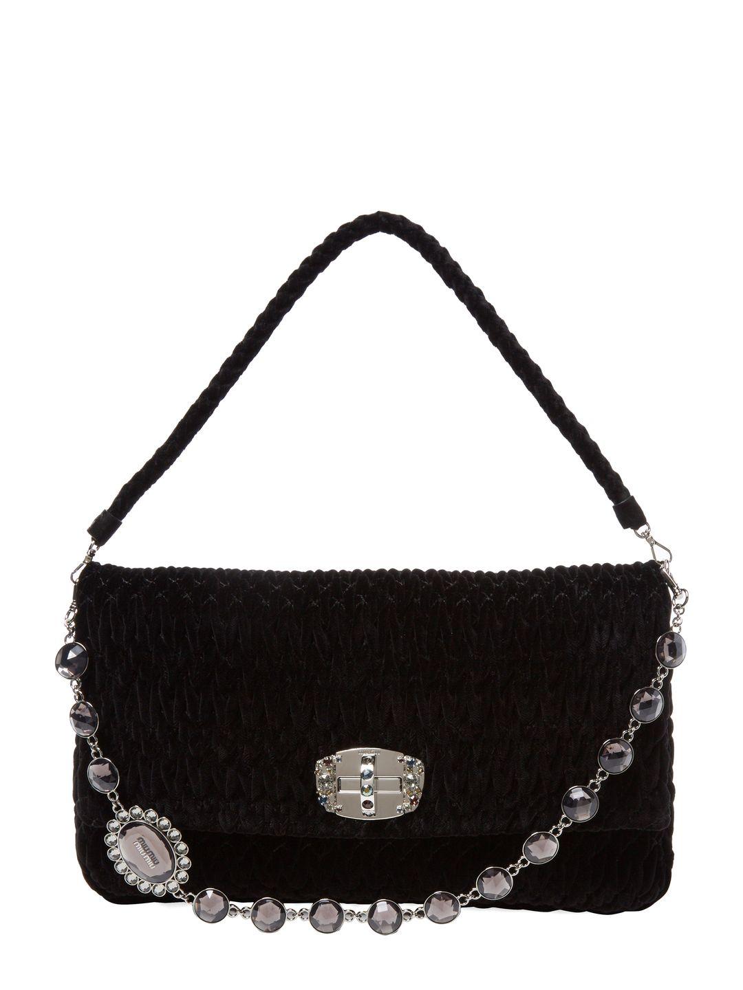 Miu Miu Embellished Chain Medium Suede Shoulder Bag at Gilt saved by #ShoppingIS