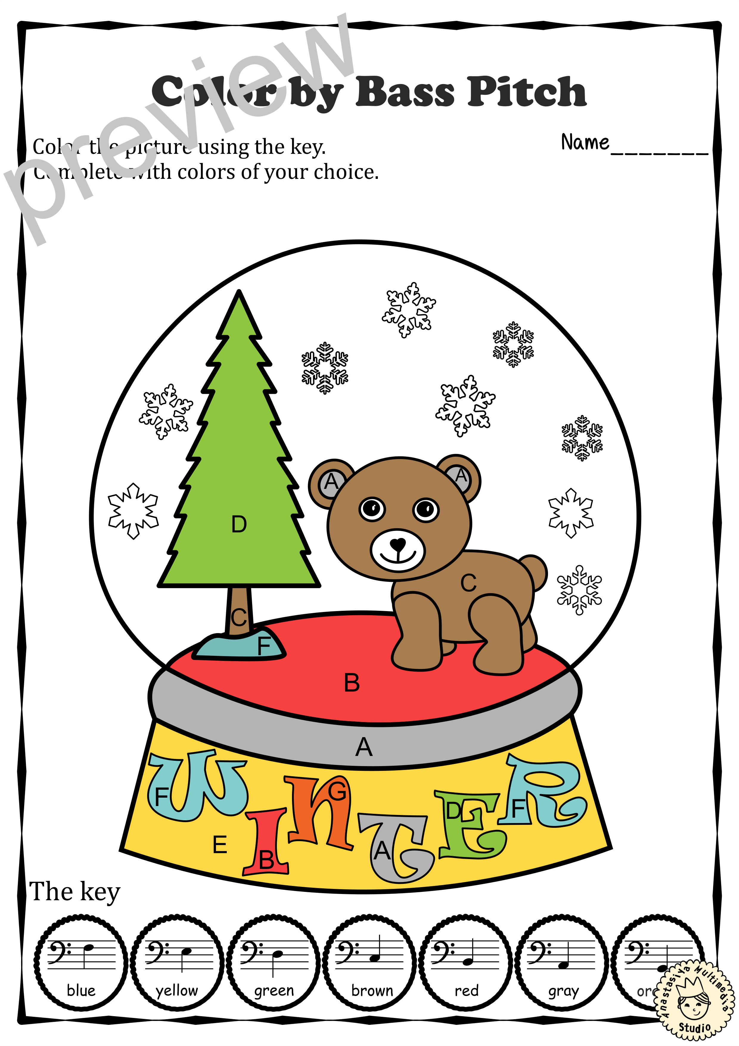 Musical Coloring Pages For Winter Color By Bass Pitch