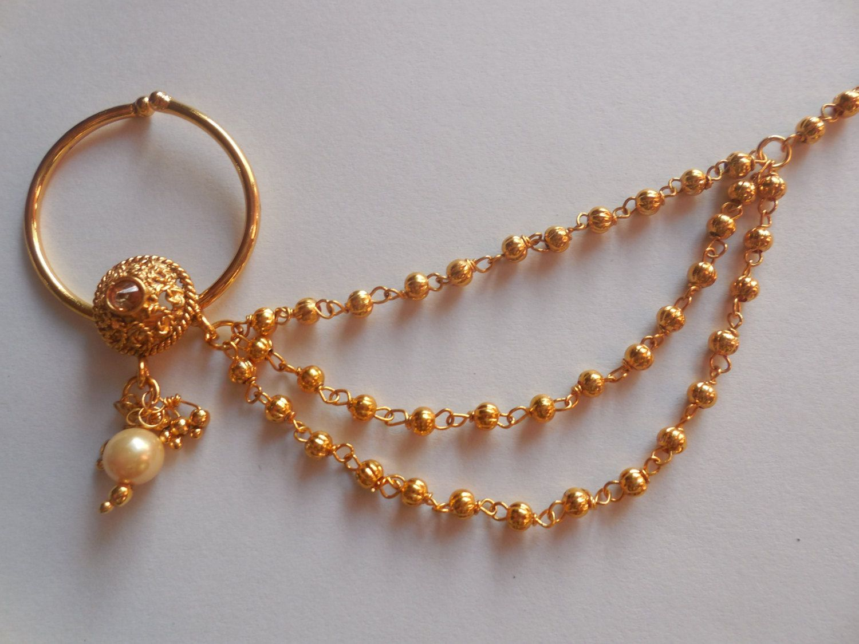 Indian Golden Hoop Nose Ring Designer Bridal Nath Nose Piercing Wedding Jewelry