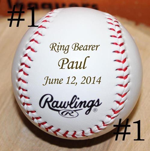 Personalized Laser Baseball Engraved Ring Bearer Usher Gift Groomsman Best Man Wedding Party Gifts