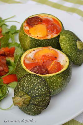 Courgette farciesoeuf, tomates cerise, poivrons, oignon, oeuf   Courgette ronde farcie ...