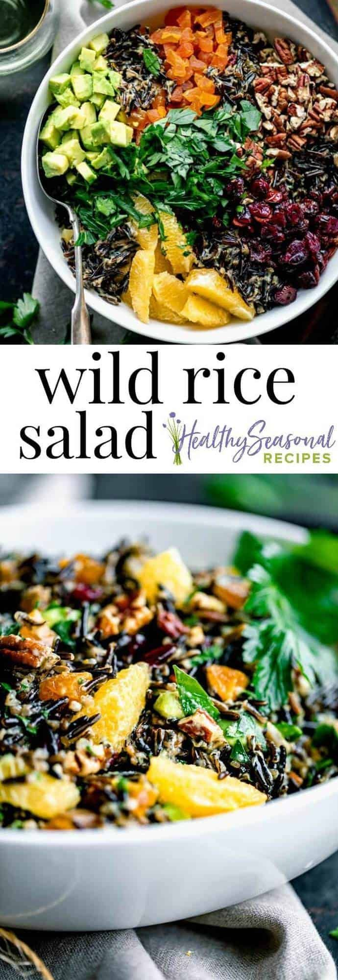 Photo of wild rice salad with cranberries apricots and avocado