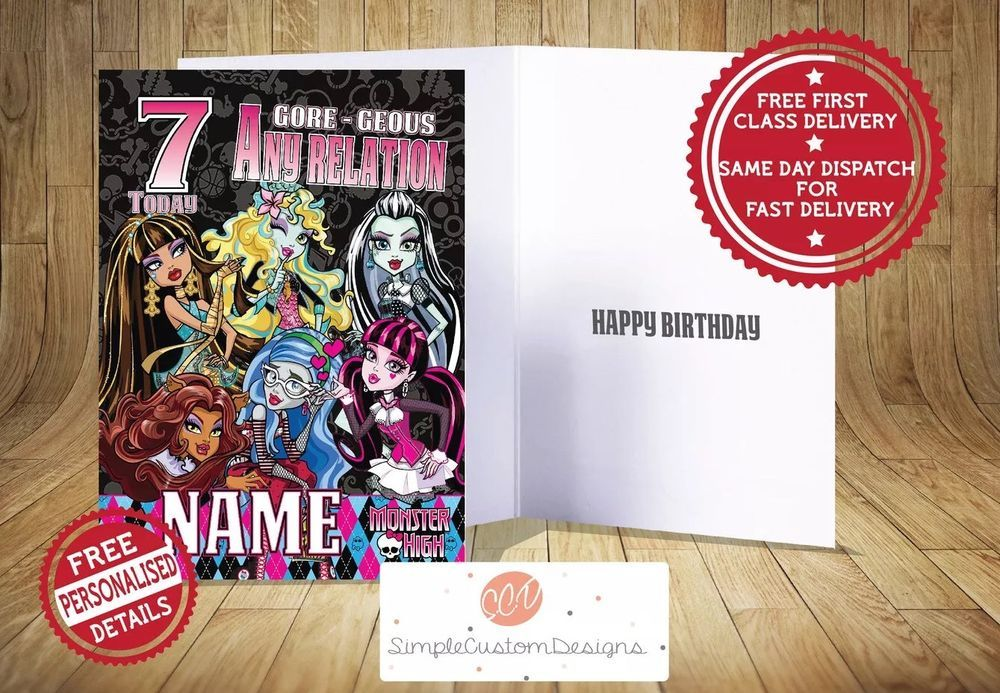 Monster High Birthday Card Personalised Fast Free Delivery