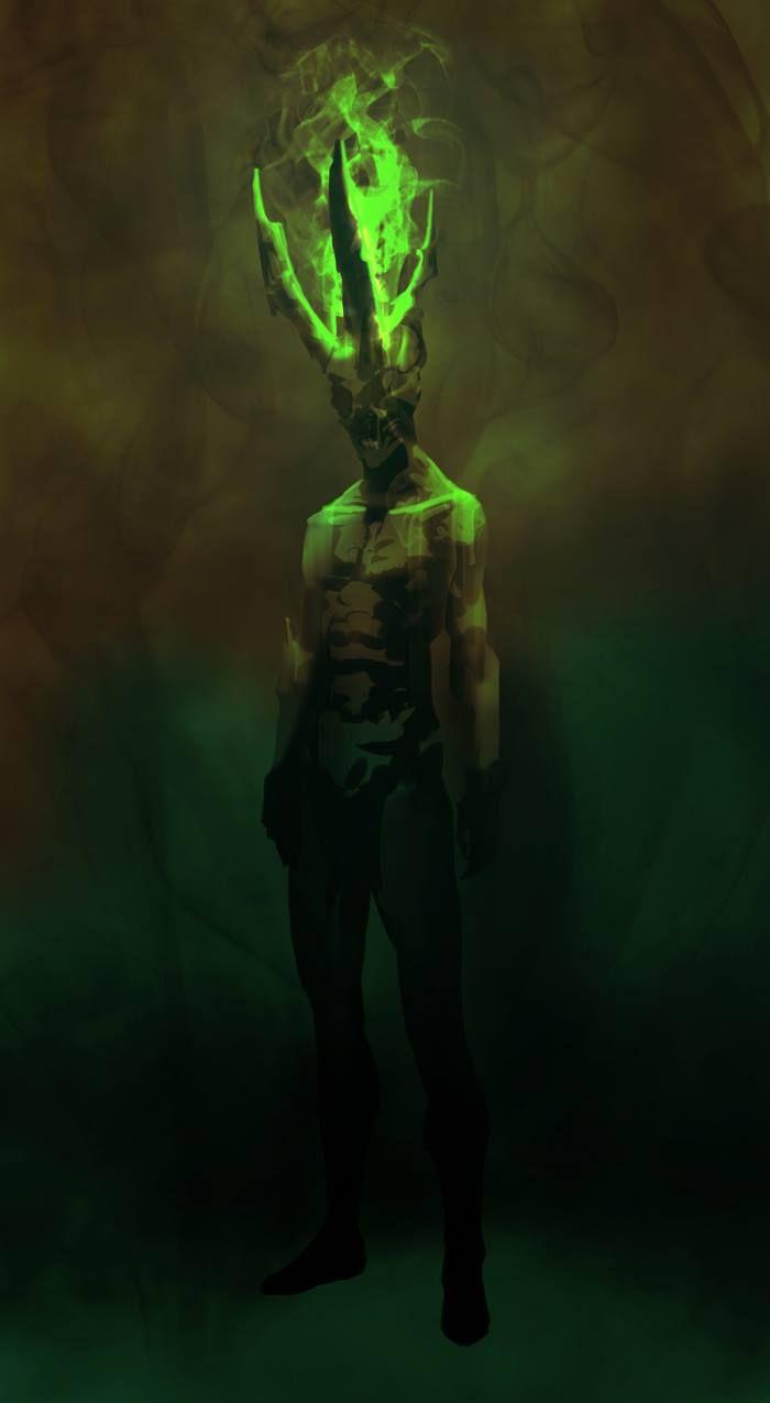 horned green fire demon